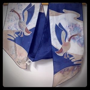 Accessories - Vintage Silk scarf with hand painted design